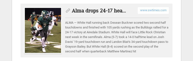 Alma drops 24-17 heartbreaker to White Hall