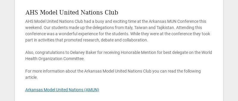AHS Model United Nations Club