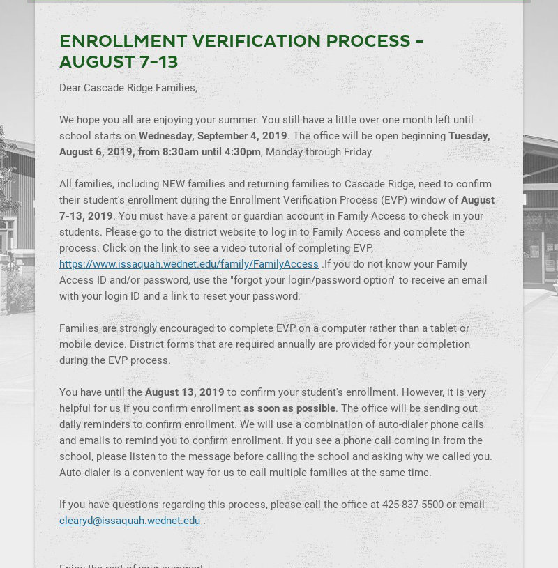 ENROLLMENT VERIFICATION PROCESS - AUGUST 7-13