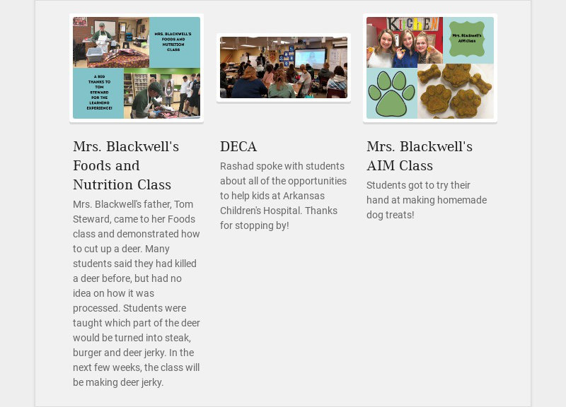 Mrs. Blackwell's Foods and Nutrition Class Mrs. Blackwell's father, Tom Steward, came to her...