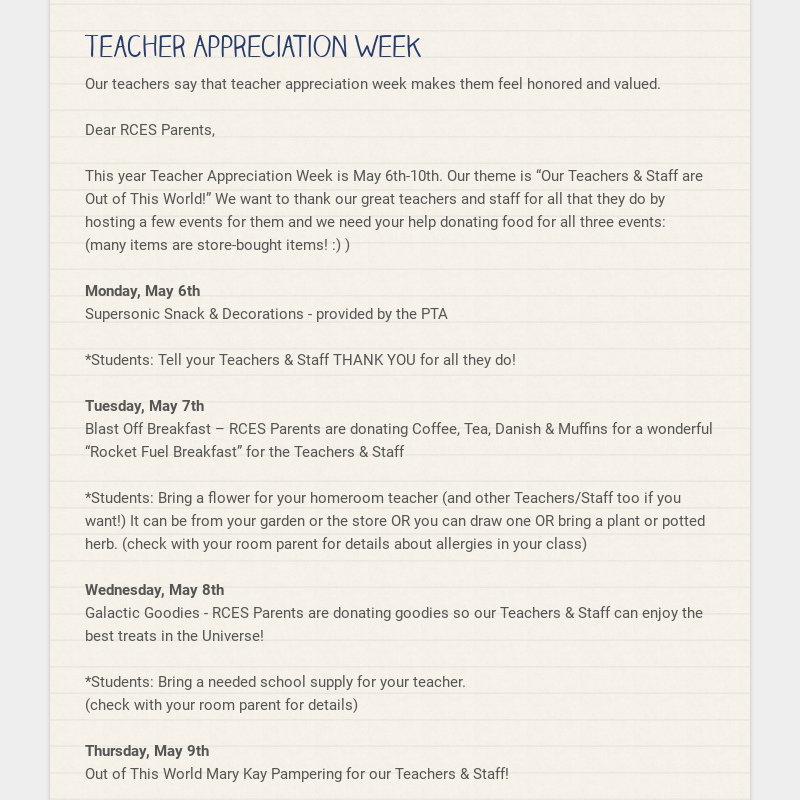 Teacher Appreciation Week Our teachers say that teacher appreciation week makes them feel honored...