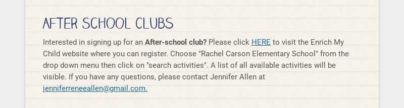 After School Clubs Interested in signing up for an After-school club? Please click HERE to visit...