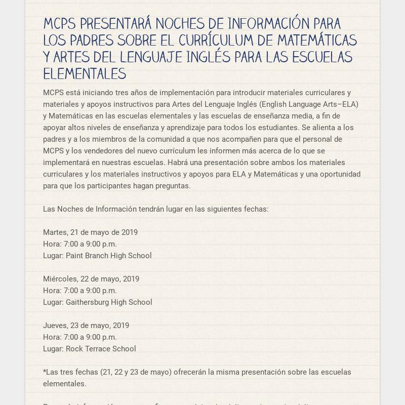 MCPS Presentará Noches de Información para los Padres sobre el Currículum de Matemáticas y Artes...