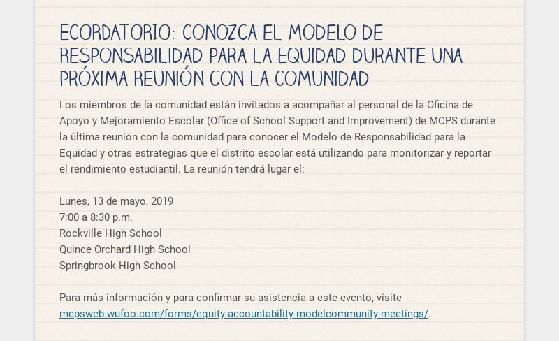 ECORDATORIO: Conozca el Modelo de Responsabilidad para la Equidad durante una Próxima Reunión con...