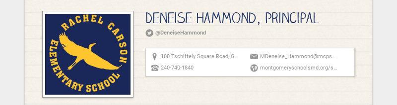 Deneise Hammond, Principal @DeneiseHammond 100 Tschiffely Square Road, Gaithersburg, MD, USA...