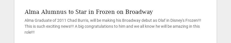 Alma Alumnus to Star in Frozen on Broadway