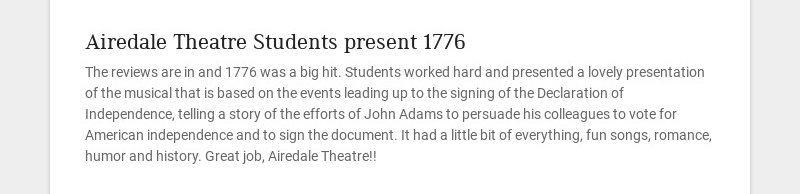 Airedale Theatre Students present 1776