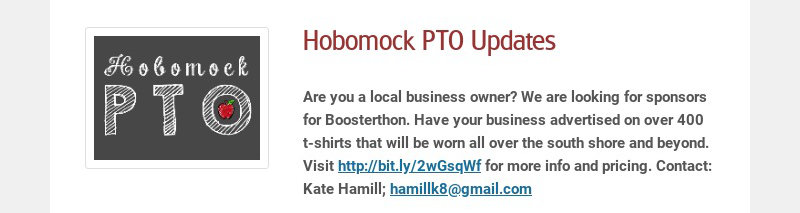 Hobomock PTO Updates