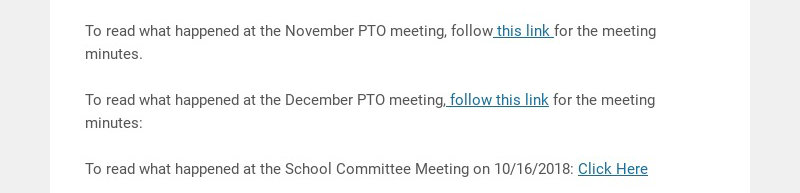 To read what happened at the November PTO meeting, follow this link for the meeting minutes.