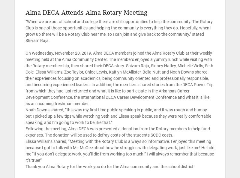Alma DECA Attends Alma Rotary Meeting