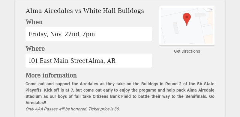 Alma Airedales vs White Hall Bulldogs