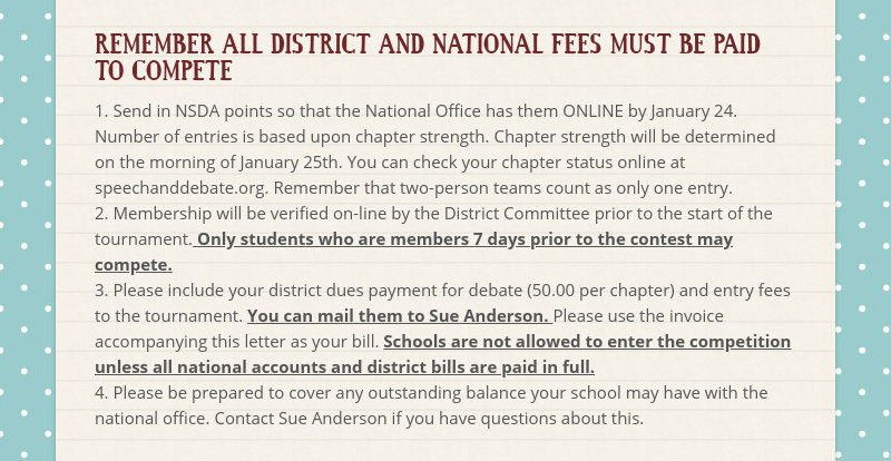 REMEMBER ALL DISTRICT AND NATIONAL FEES MUST BE PAID TO COMPETE