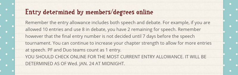 Entry determined by members/degrees online