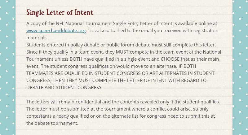 Single Letter of Intent