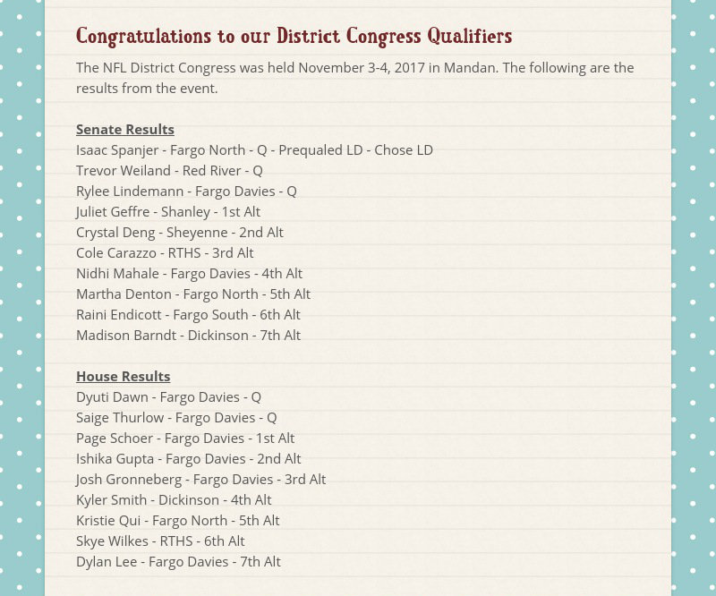 Congratulations to our District Congress Qualifiers