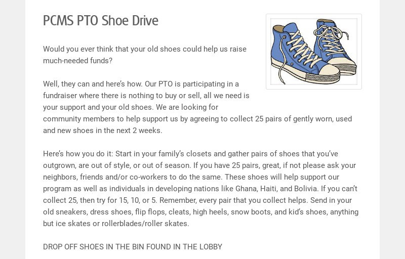 PCMS PTO Shoe Drive