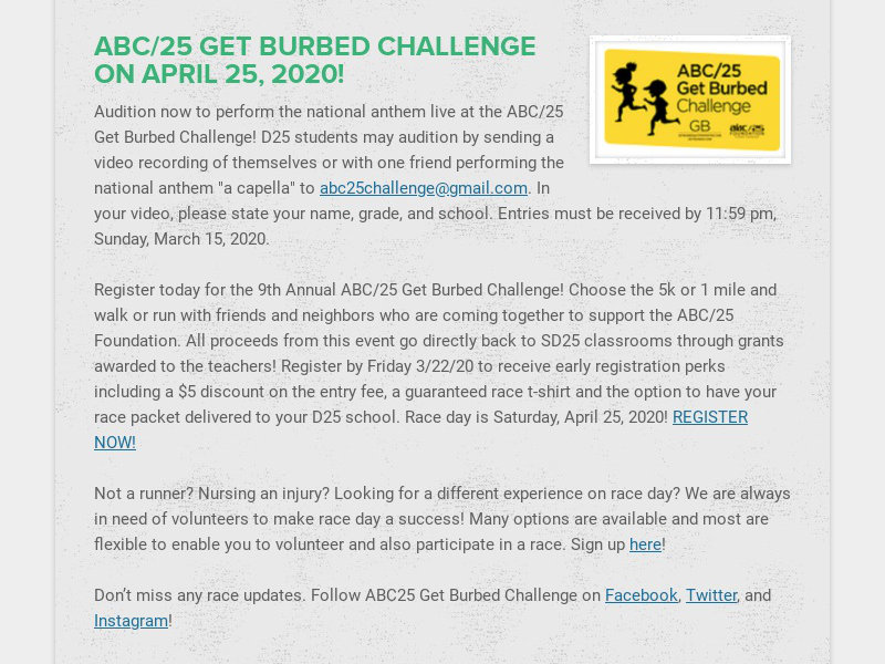 ABC/25 GET BURBED CHALLENGE ON APRIL 25, 2020!