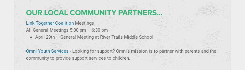 OUR LOCAL COMMUNITY PARTNERS...