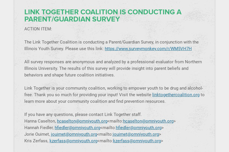 LINK TOGETHER COALITION IS CONDUCTING A PARENT/GUARDIAN SURVEY