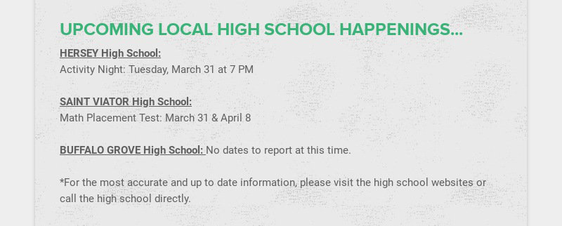 UPCOMING LOCAL HIGH SCHOOL HAPPENINGS...