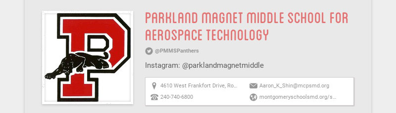 parkland magnet middle school for aerospace technology @PMMSPanthers Instagram:...