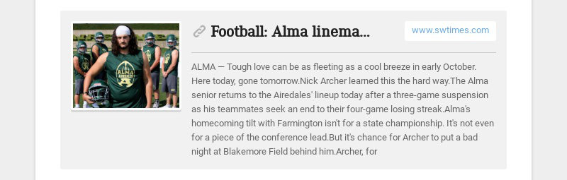Football: Alma lineman returns from suspension, will play offense and defense