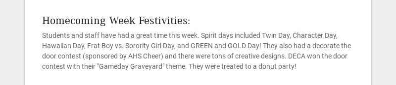 Homecoming Week Festivities: