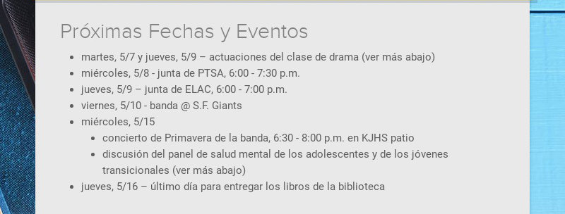 Próximas Fechas y Eventos martes, 5/7 y jueves, 5/9 – actuaciones del clase de drama (ver más...