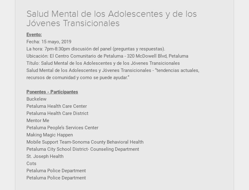 Salud Mental de los Adolescentes y de los Jóvenes Transicionales Evento: Fecha: 15 mayo, 2019 La...