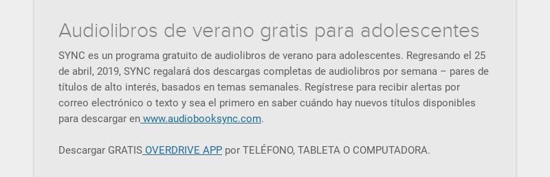 Audiolibros de verano gratis para adolescentes SYNC es un programa gratuito de audiolibros de...
