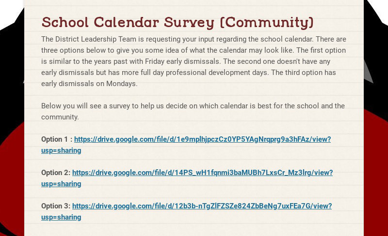 School Calendar Survey (Community)