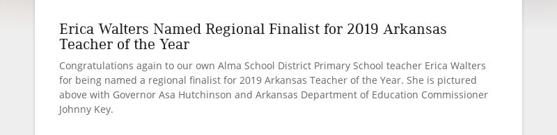 Erica Walters Named Regional Finalist for 2019 Arkansas Teacher of the Year