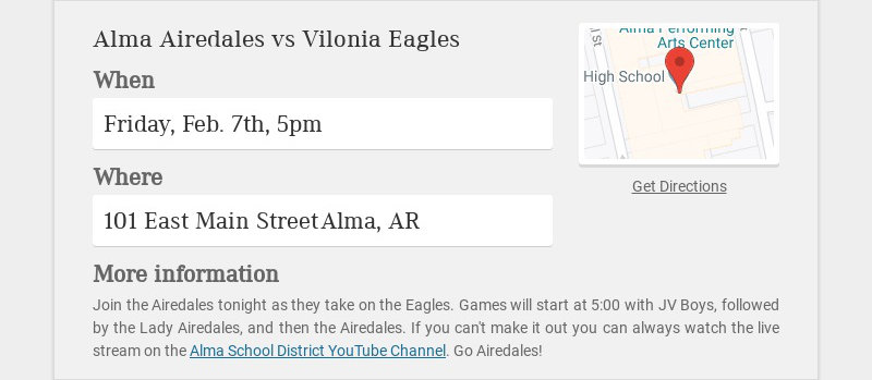 Alma Airedales vs Vilonia Eagles