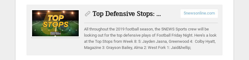 Top Defensive Stops: Week Nine 5newsonline.com All throughout the 2019 football season, the 5NEWS...
