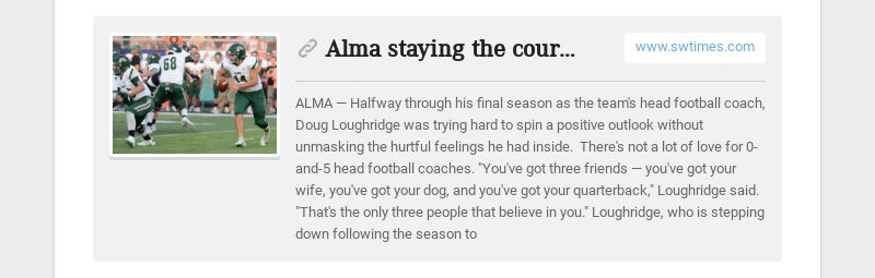 Alma staying the course www.swtimes.com ALMA — Halfway through his final season as the team's...