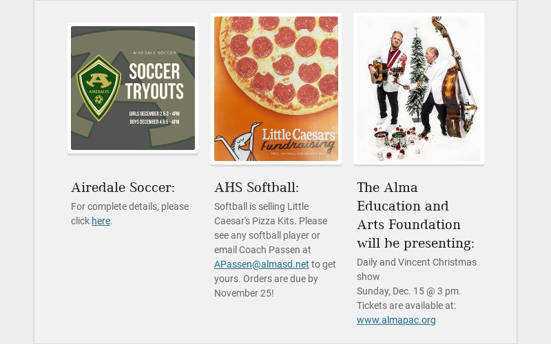 Airedale Soccer: For complete details, please click here. AHS Softball: Softball is selling...