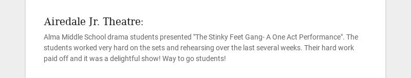 Airedale Jr. Theatre: