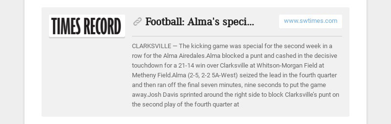 Football: Alma's special teams clutch again in win