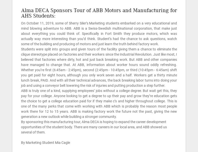 Alma DECA Sponsors Tour of ABB Motors and Manufacturing for AHS Students: