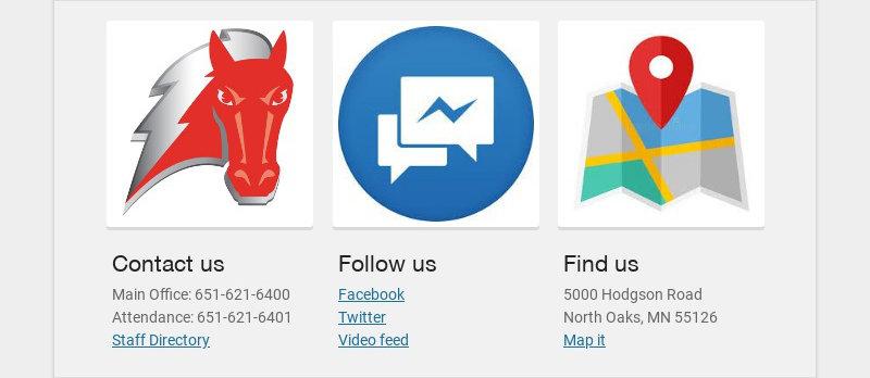 Contact us Main Office: 651-621-6400 Attendance: 651-621-6401 Staff Directory Follow us...