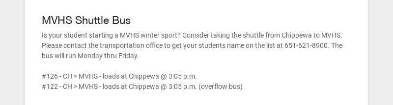 MVHS Shuttle Bus