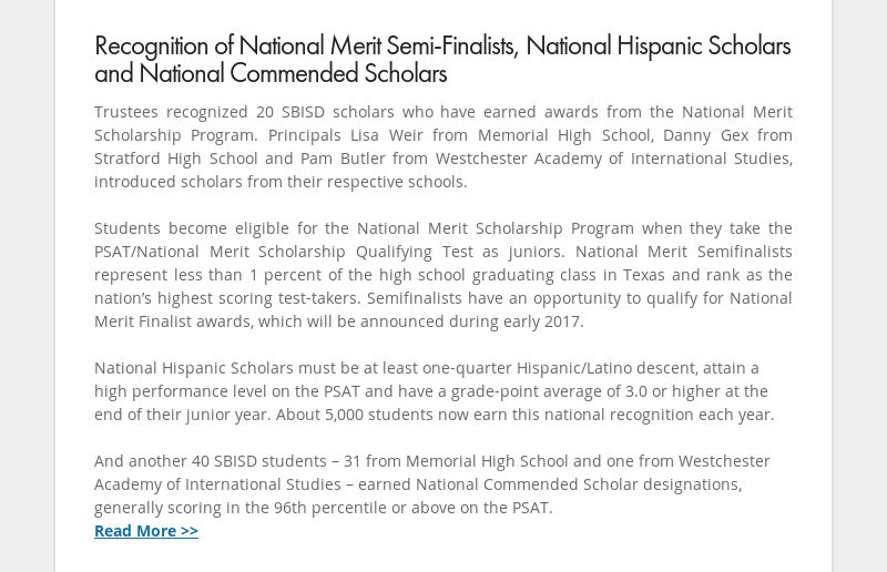 Recognition of National Merit Semi-Finalists, National Hispanic Scholars and National Commended...