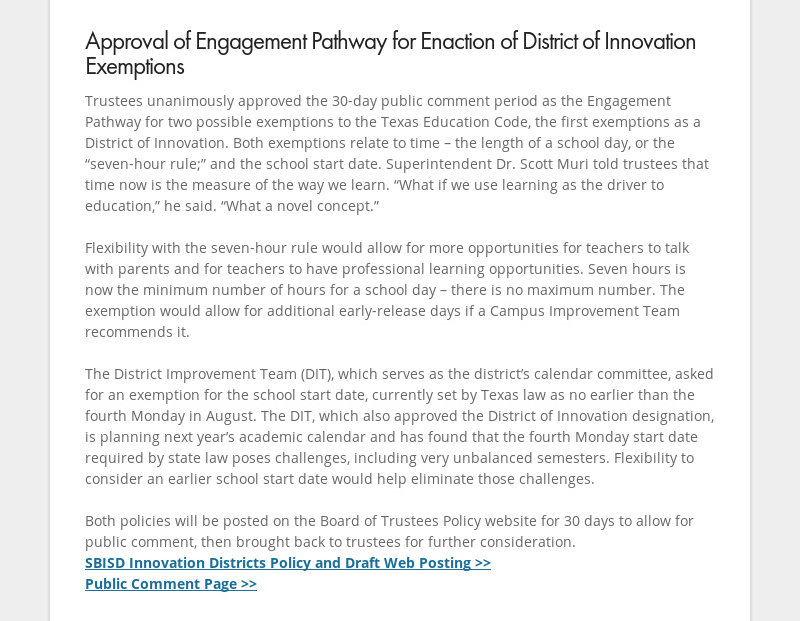 Approval of Engagement Pathway for Enaction of District of Innovation Exemptions Trustees...