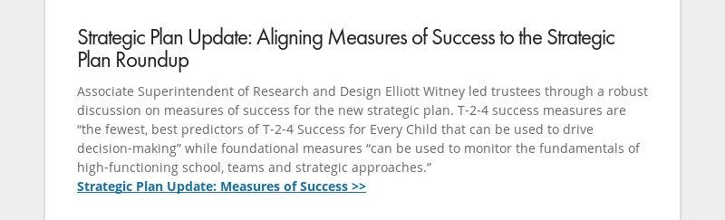 Strategic Plan Update: Aligning Measures of Success to the Strategic Plan Roundup Associate...