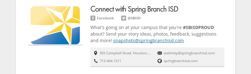 Connect with Spring Branch ISD Facebook @SBISD What's going on at your campus that you're...