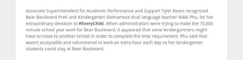 Associate Superintendent for Academic Performance and Support Tyler Ream recognized Bear Boulevard...