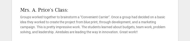 Mrs. A. Price's Class: