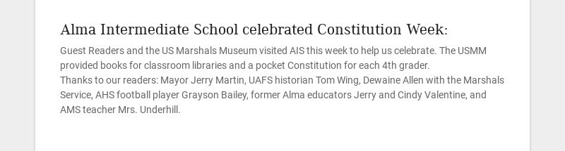 Alma Intermediate School celebrated Constitution Week: