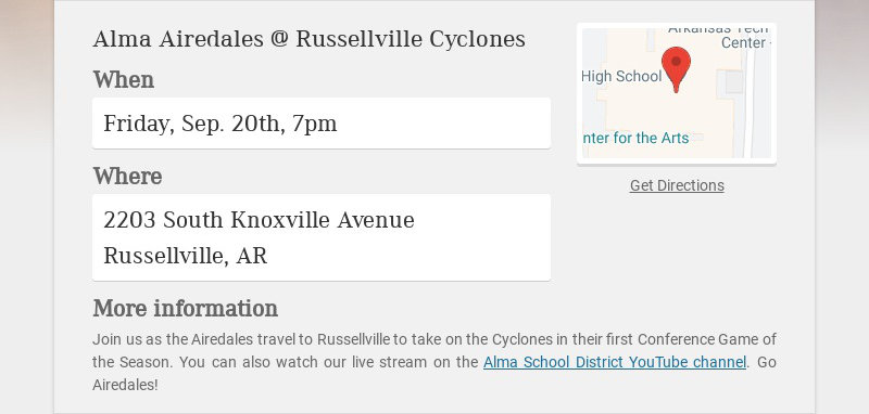 Alma Airedales @ Russellville Cyclones