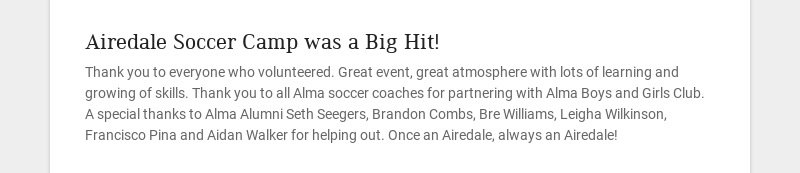 Airedale Soccer Camp was a Big Hit!